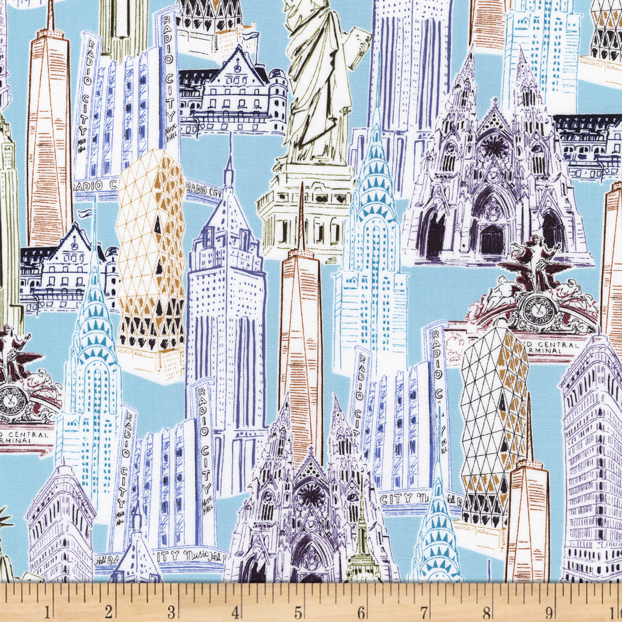 Kaufman Dream Vacation New York City Collage Vintage Fabric 0469729