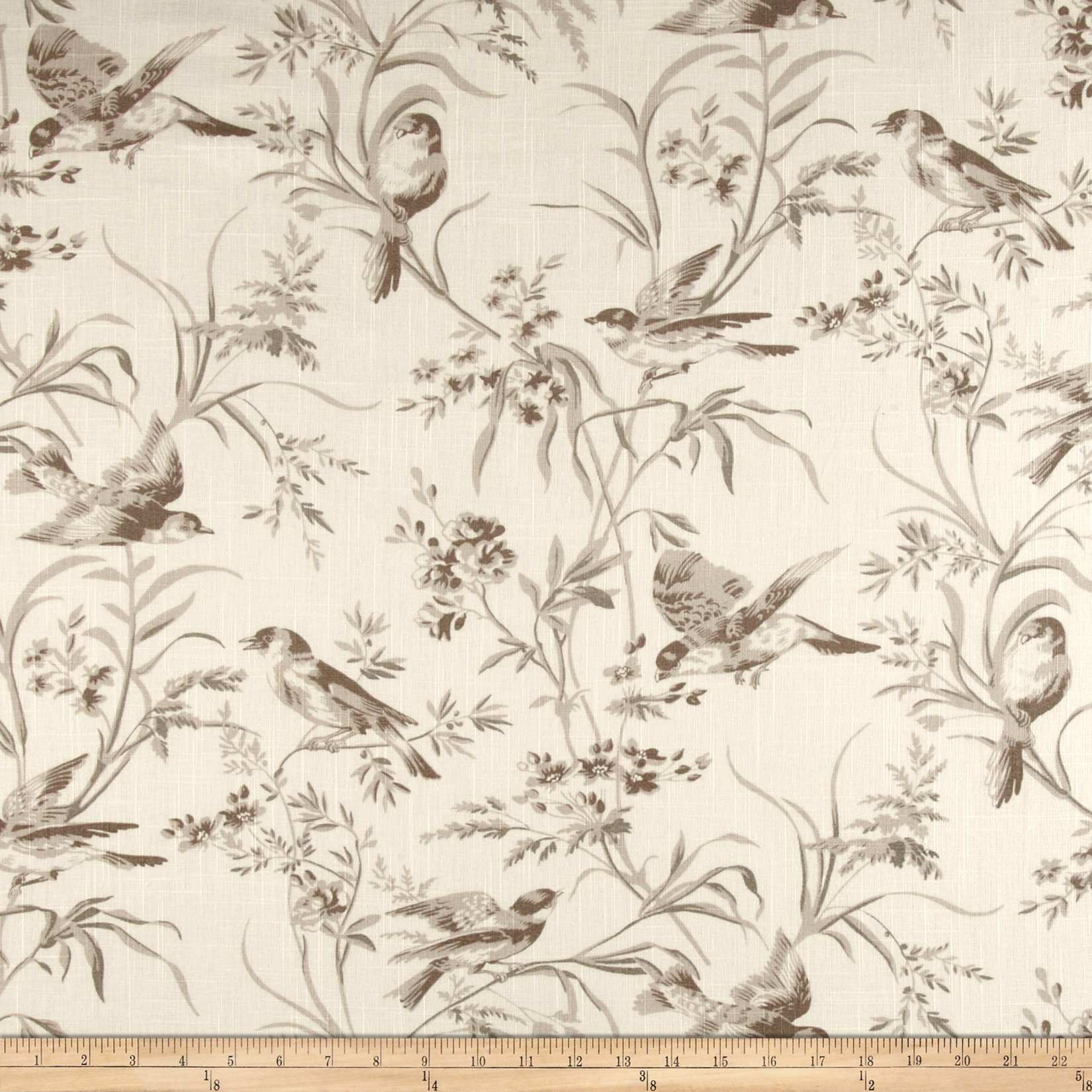 French General Bird Toile Blend Bisque Fabric by Fabricut in USA