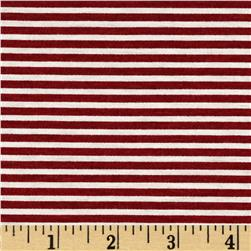 Stretch Blend Jersey Knit Stripe Red/White