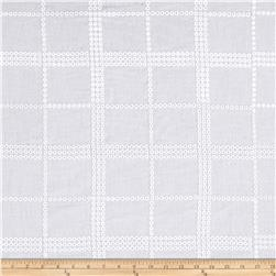 Cotton Eyelet Square Dots White