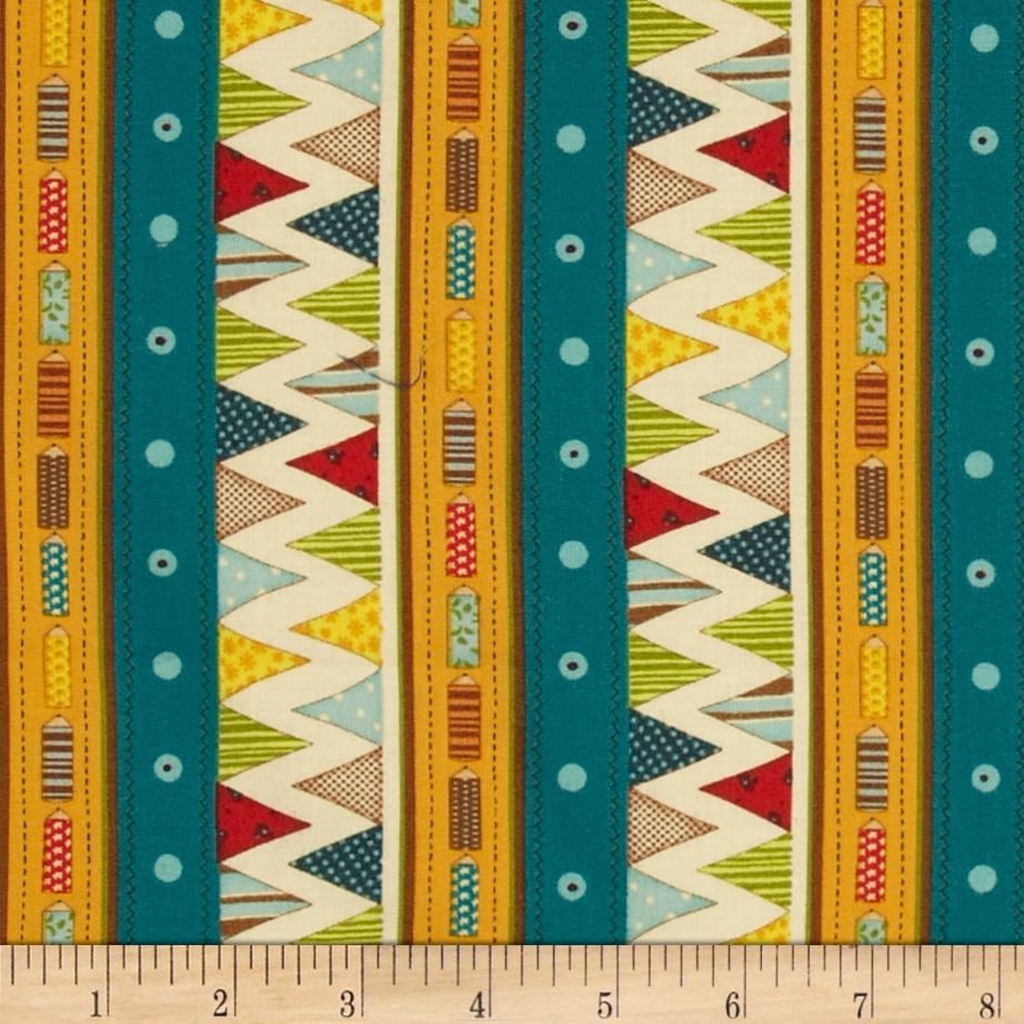 Pencil Zig Zag Repeating Stripe Multi