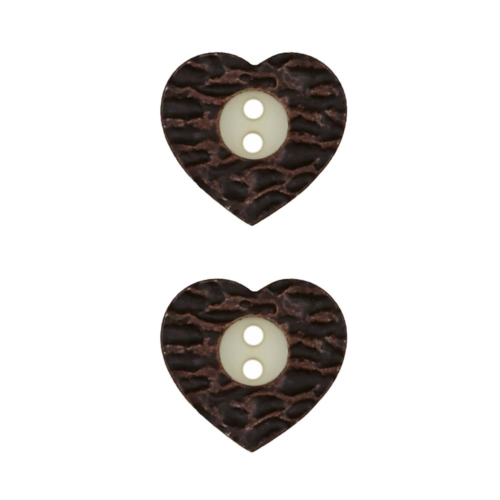 Dill Novelty Button 3/4'' Faux Metal Heart Brown
