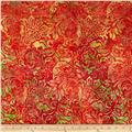 Timeless Treasures Tonga Batik Sunburst Floral Poppy