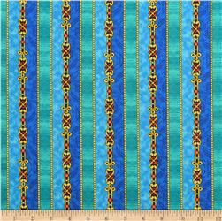 Quilting Treausres The Ten Commandments Stripe Blue