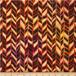 Indian Batik Metallic Broken Chevron Red