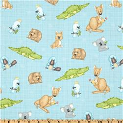 Flannel Tossed Australian Animals Blue