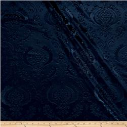 Damask Embossed Velvet Navy