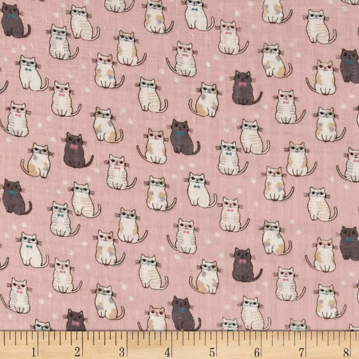 Double Gauze Little Kitties Pink