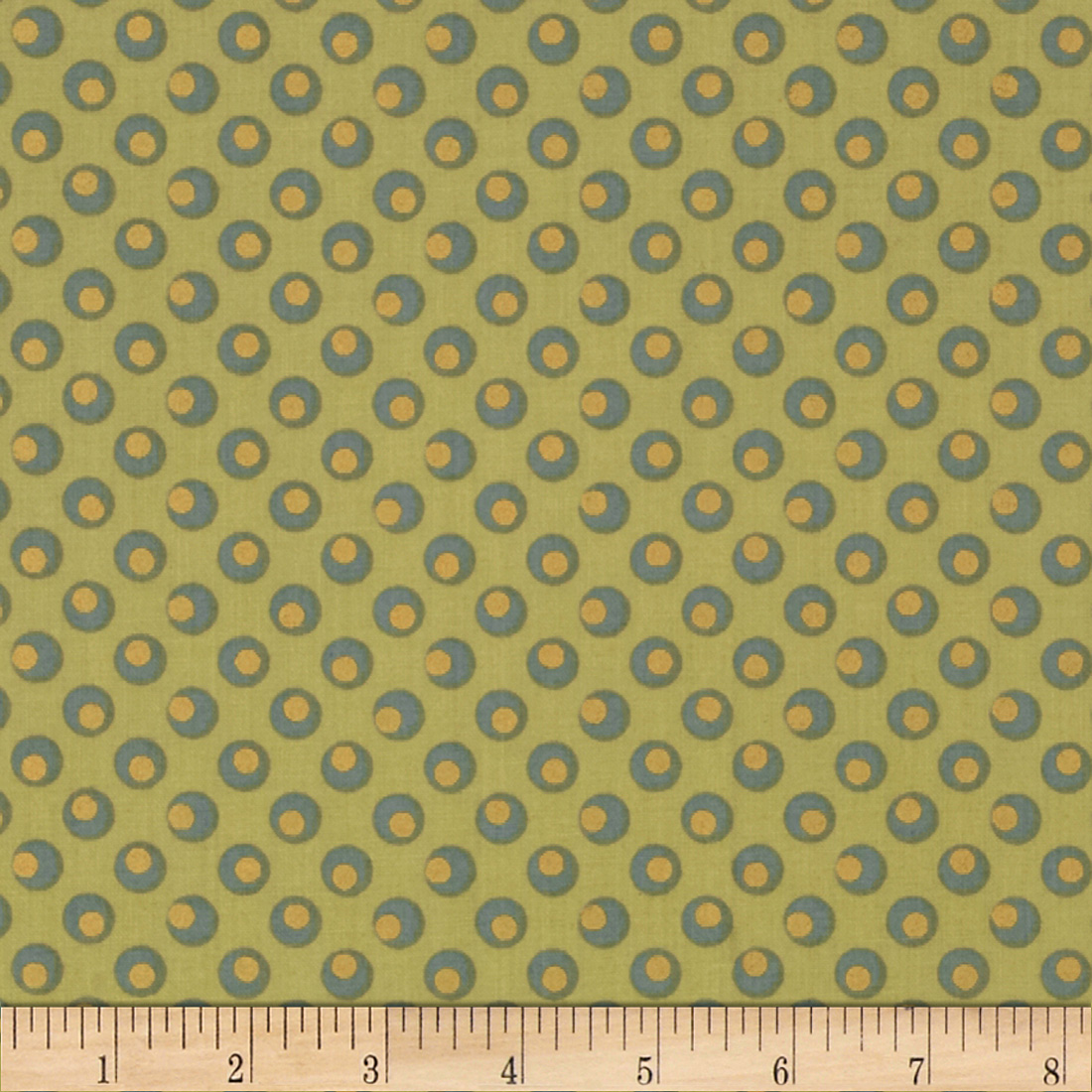 Metallic Dotted Circles Green Fabric