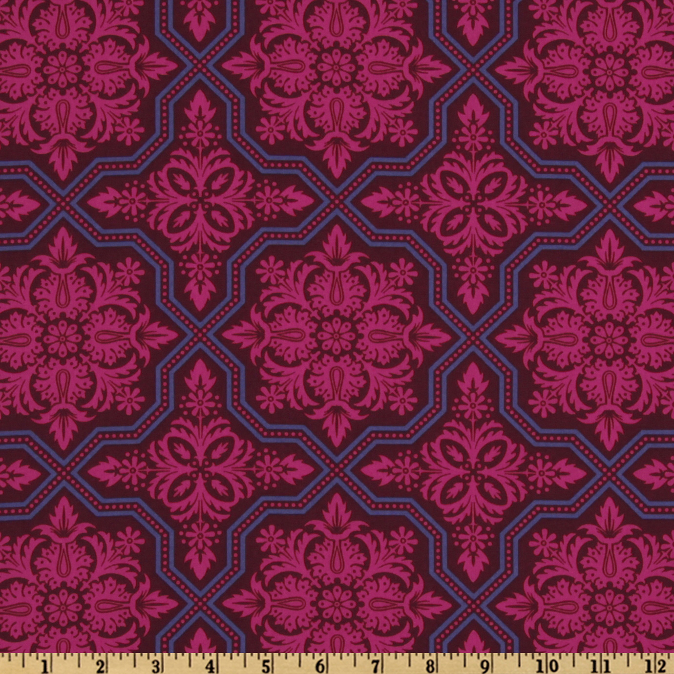 Joel Dewberry Heirloom Tile Flourish Garnet Fabric