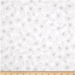 Tres Chic Feather Toss White Fabric