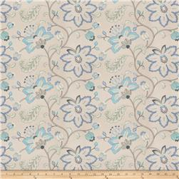 Fabricut  Embroidered Bettino Floral Lagoon