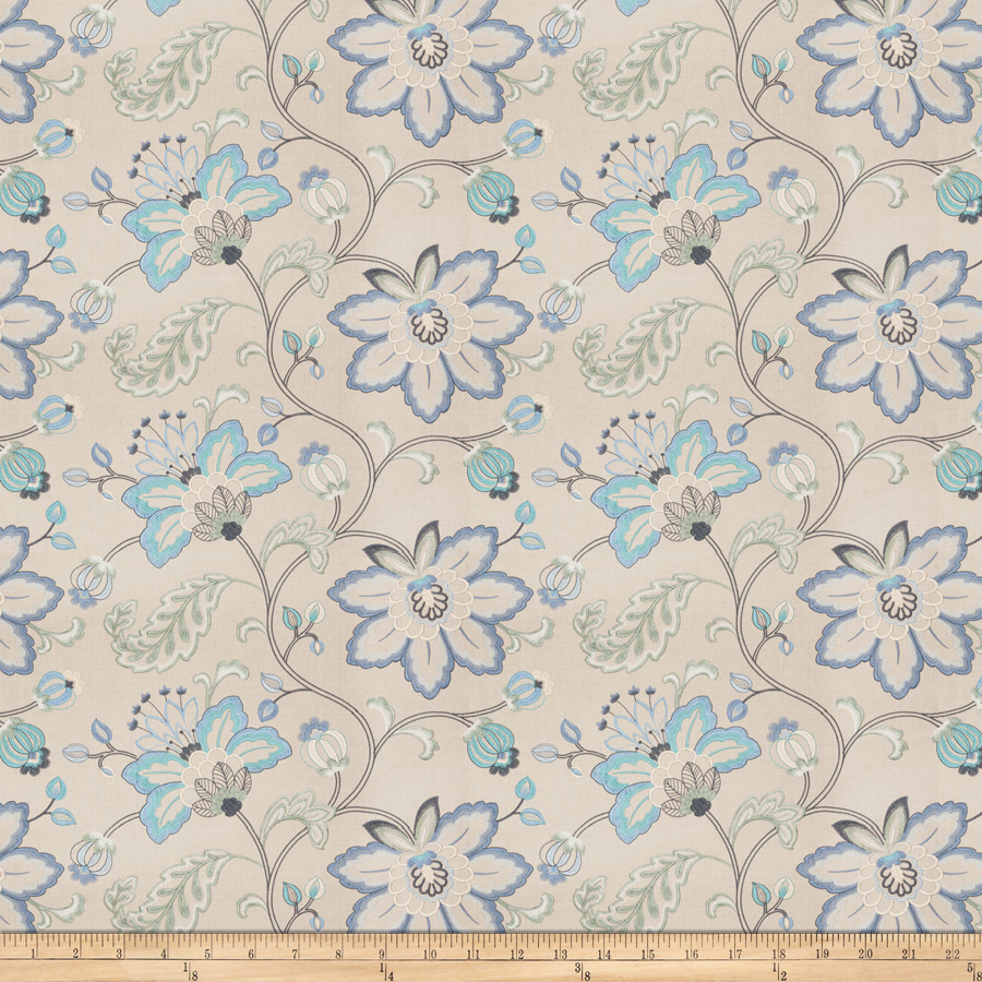 Embroidered Bettino Floral Lagoon Fabric by Fabricut in USA