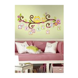 Happy Owl Letter Branch Giant Wall Decal