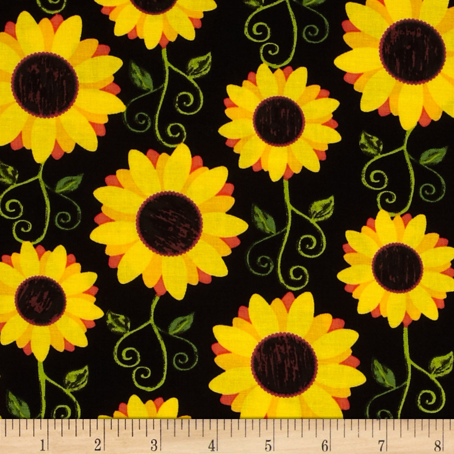 Kanvas Fall Festival Sunflower Delight Black Fabric