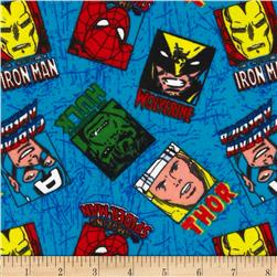 Marvel Comics Flannel Hero Portrait Toss Multi