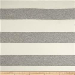 Designer Yarn Dyed Jersey Knit Stripes Grey/Ivory Fabric