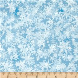 Holiday Accents Classics 2016 Falling Snow Sky Blue