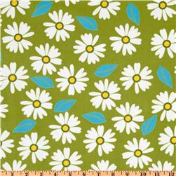 Kaufman 21 Wale Cool Cords Daisy Lime Fabric