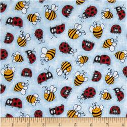 Mixed Medley Ladybugs and Bumblebees Light Blue