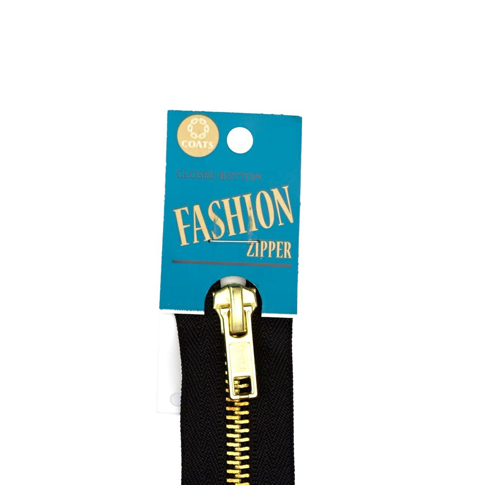 Coats & Clark Fashion Brass Closed Bottom Zipper 5'' Black