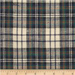 Designer Yarn Dyed Flannel Plaid Navy/Orange