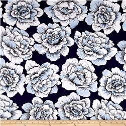 Sweet Blooms ITY Jersey Knit Navy/Powder Blue