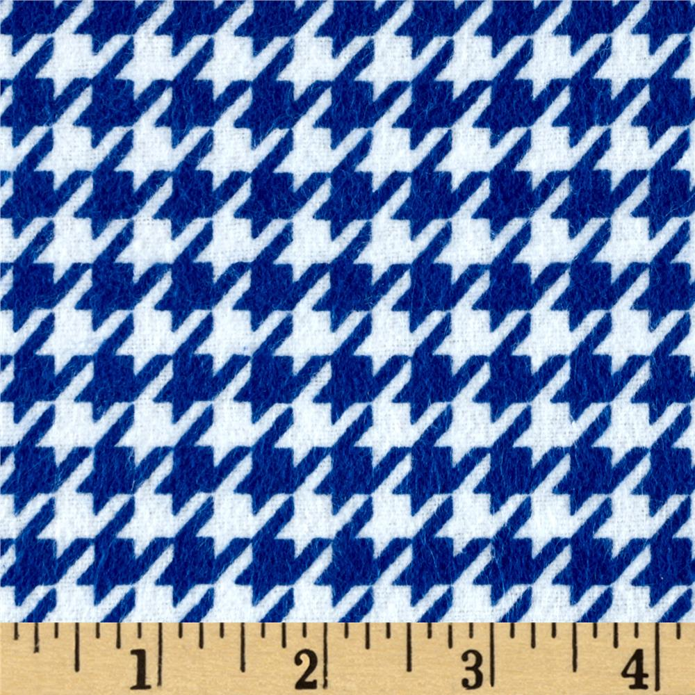 Flannel Houndstooth Blue Fabric