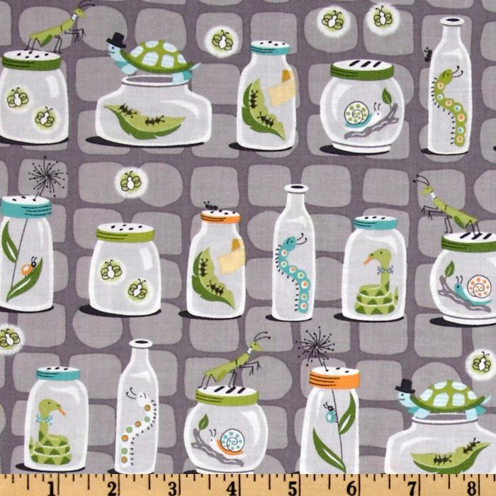 Michael Miller Backyard Baby  Bug Jars Grey