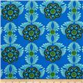 Rhapsody In Blue Metallic Feather Medallion Blue