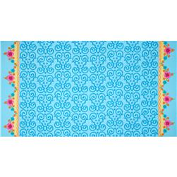 Anna Double Border Flourish & Flowers Turquoise