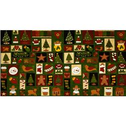 Ginger Trees Christmas Motif Patchwork Panel Green/Multi