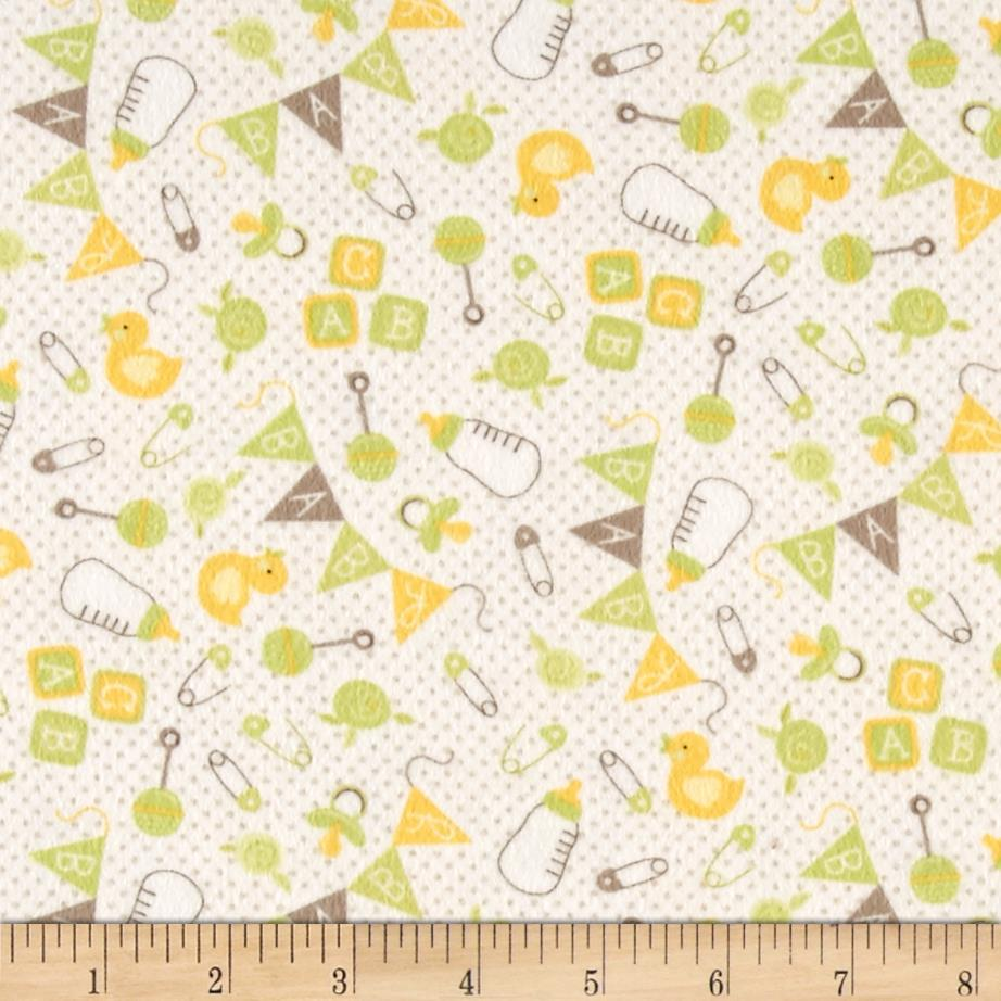 Moda sweet baby flannel nursery toss sprig cloud for Cheap baby fabric