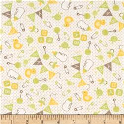 Moda Sweet Baby Flannel Nursery Toss Sprig/Cloud