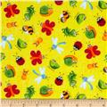 Timeless Treasures Happy Bugs Flannel Bugs on Sketch Yellow