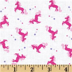 Timeless Treasures Fairy Tale Mini Unicorn Toss White