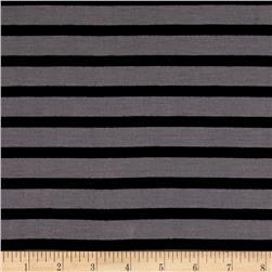 Yarn Dye Jersey Knit Hazle Wood/Black Stripes
