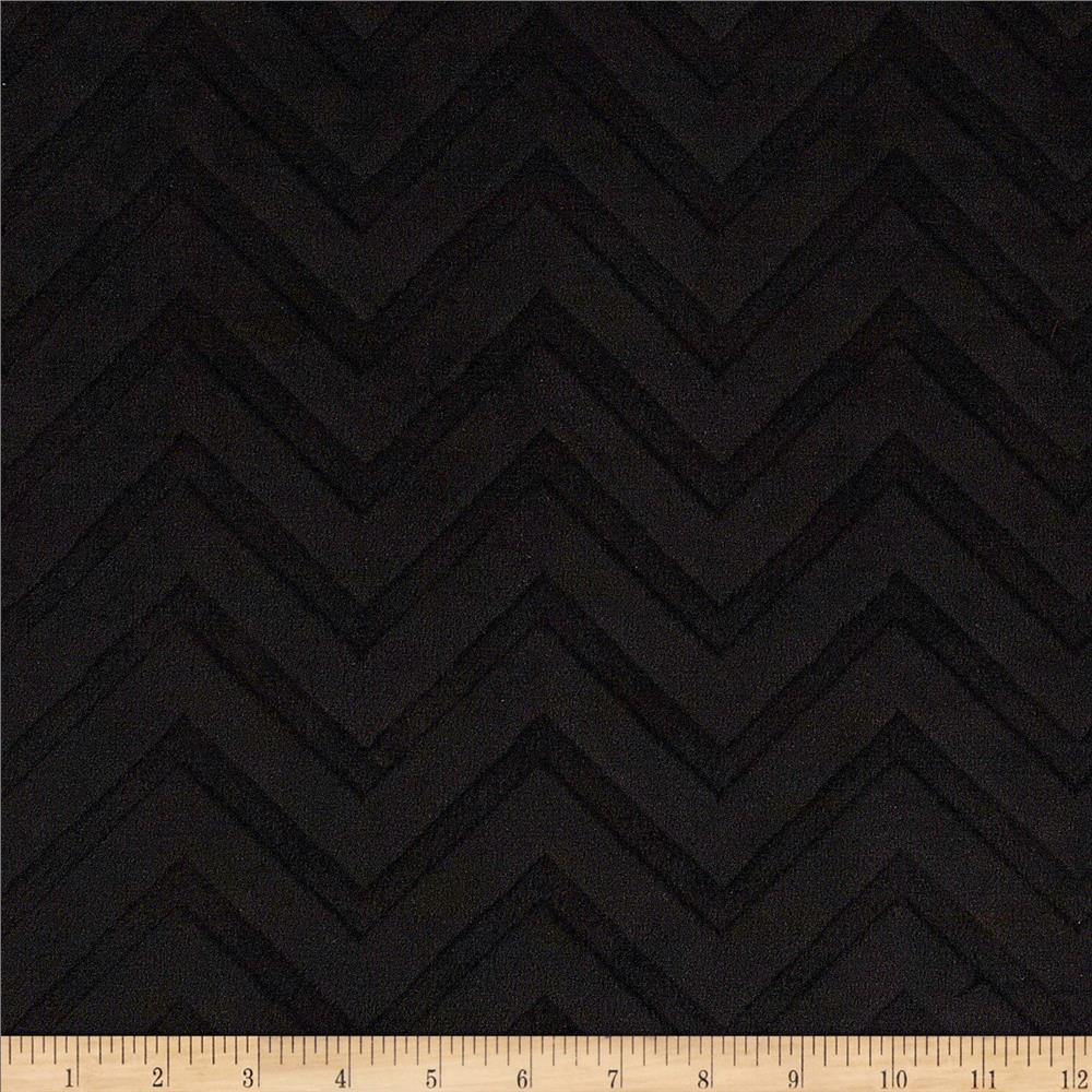 Shannon Minky Cuddle Embossed Chevron Black