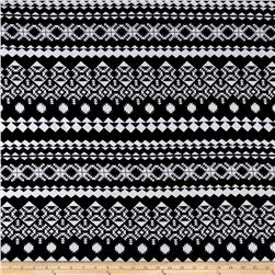 Jersey Knit Aztec Diamond Triangle Print Black White