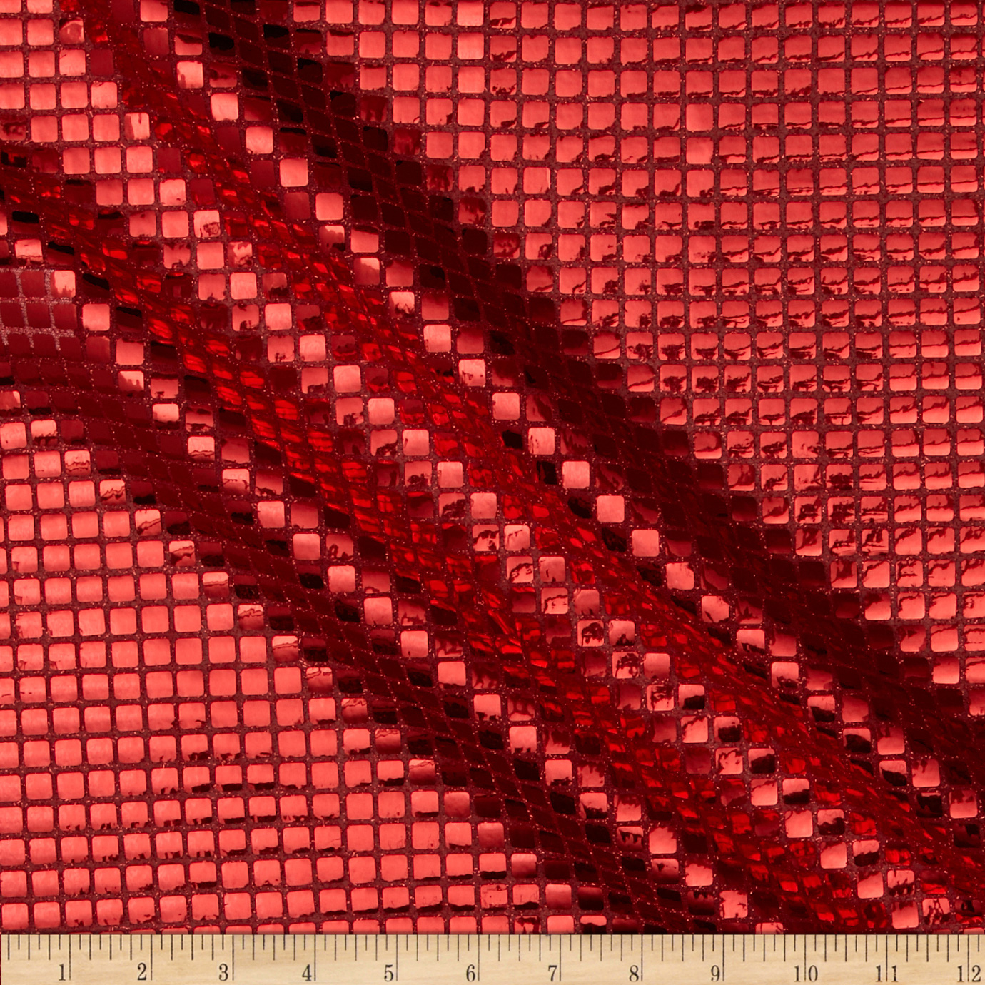 Sequin Check Mesh Red Fabric by Richland in USA