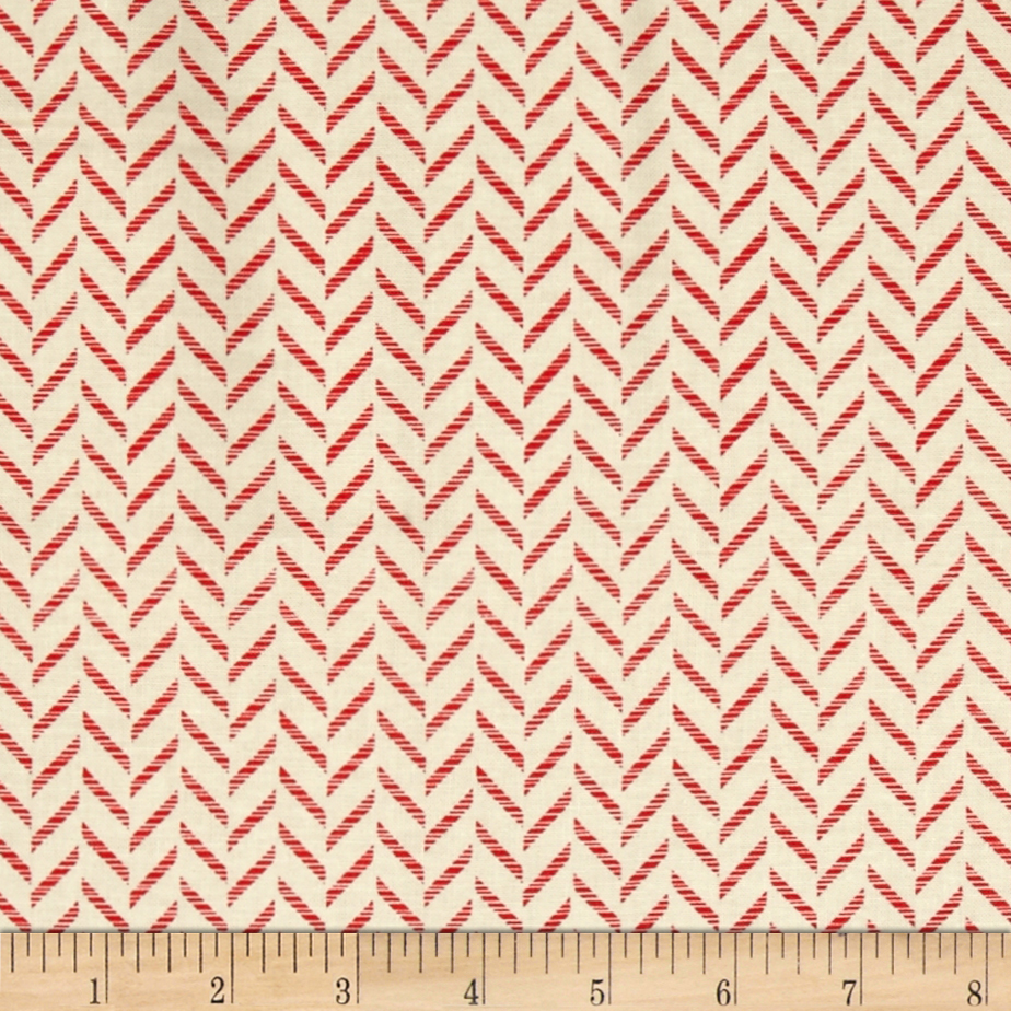 Kanvas Tempo Zig Zag Cream/Red Fabric