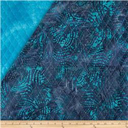 Indian Batik Double Sided Quilted Abstract Stripe Turquoise/Purple