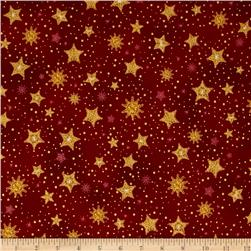 Robert Kaufman Radiant Holiday Metallic Stars Crimson