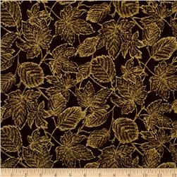 Moda Autumn Elegance Metallic Leaves Olive