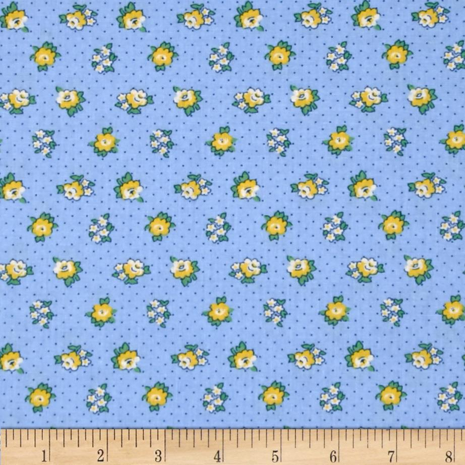 Spring Showers Dotted Flowers Blue/Yellow
