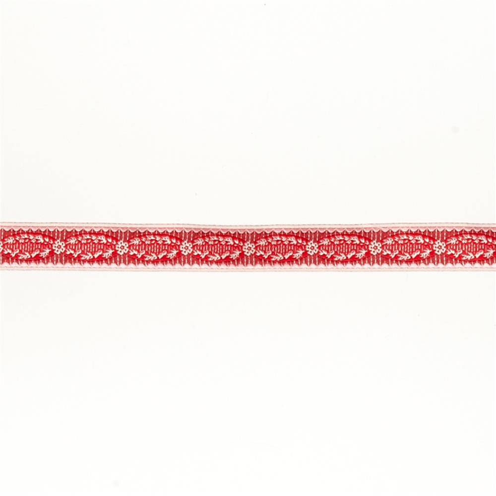 "5/8""French General Red Medallions on Stripes"