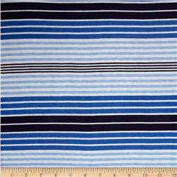 Stretch Rayon Jersey Knit Stripes Print Blue/White/Navy