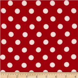 Rayon Challis Medium Dots Red/White