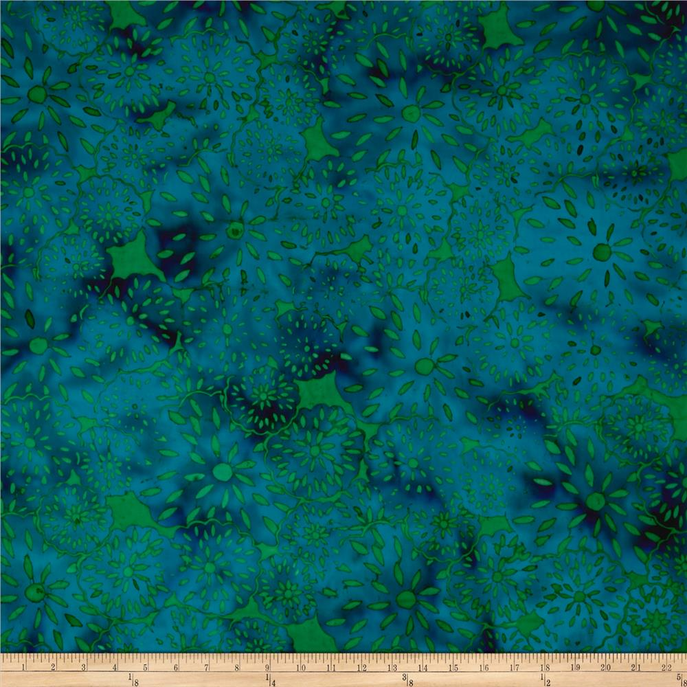 Island Batik Lavish Seed Flower Sea Green/Turq