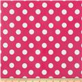 Riley Blake Laminated Cotton Medium Dots Hot Pink/White